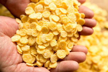 Corn flakes, piled on the desk