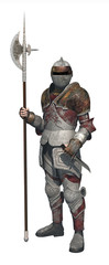 guerriero medievale con alabarda