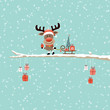 Rudolph On Tree Sleigh Gift Tree Retro