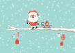 Card Santa Glasses Sleigh Gift Tree Retro