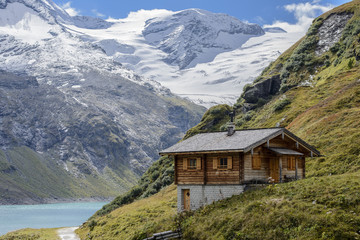 Wooden house on the Mooserboden