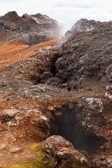 Fumaroles in lava fields Leirhnjukur volcano, Iceland