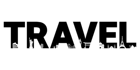 Travel text with silhouettes of landmarks