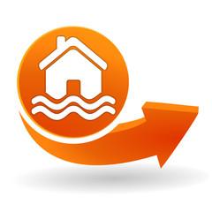 zone inondable sur bouton web orange
