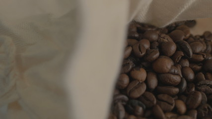 Roasted coffee beans in the bag.