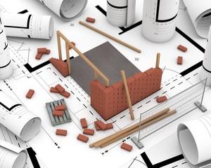 Baustelle auf Plan
