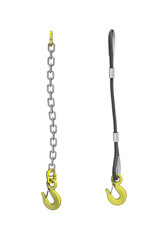 Cargo strapping: cable and chain with crane hook