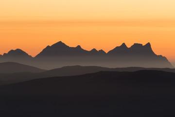 mountain range in late sunset