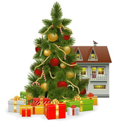 Vector Christmas Tree with House