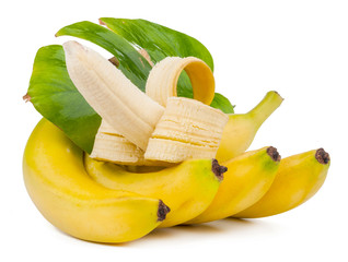 bunch of bananas and one open with leaf isolated