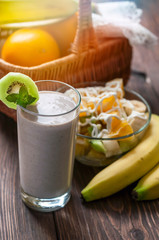 Banana smoothie with fruit salad
