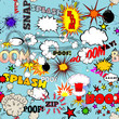 Vector Retro Seamless Pattern with Bubbles, Labels, Logos, Comic - 73053471