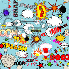 Vector Retro Seamless Pattern with Bubbles, Labels, Logos, Comic