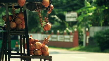 Fruit tray near the road