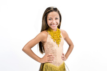Teenger smiling golden dress dancing on a white background