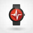 Smart watch icon with a heart beat sign