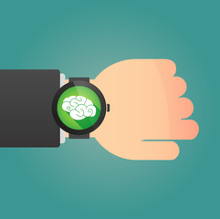 Hand with a smart watch displaying a brain