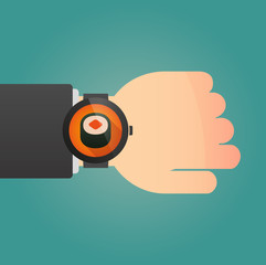 Hand with a smart watch displaying a sushi
