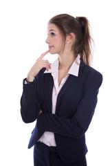Junge Business Frau isoliert: zweifelnd, nachdenklich, skeptisch