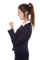 Motivation und Power: junge Frau erfolgreich im Beruf
