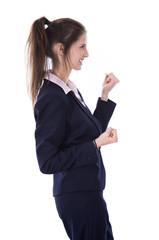 Erfolgreiche junge Frau im Beruf jubelnd und begeistert