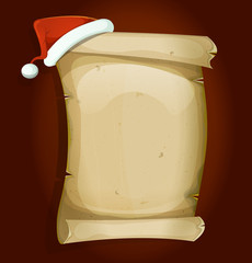 Santa Claus Hat On Old Parchment Scroll