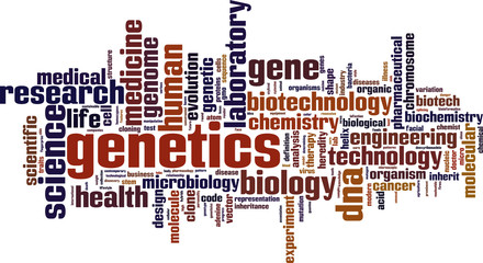 Genetics word cloud concept. Vector illustration