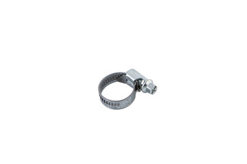New metal hose clamp isolated on white