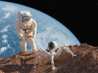 Astronaut and robot