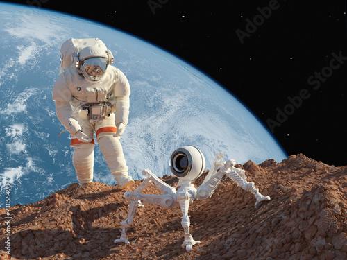 fototapeta na ścianę Astronauta i robota