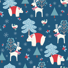 Winter forest - christmas seamless pattern