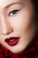Asian Woman Close up With glamour make up and red lips