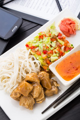Quick asian style lunch in office
