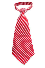 red striped tie with a knot