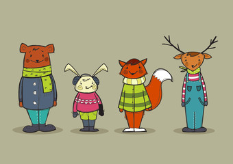 Cute animals in clothes, vector illustration