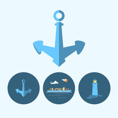 Set with anchor, lighthouse and container ship