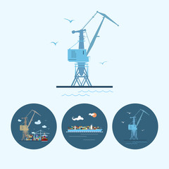 Set icons with  crane,  containership , vector illustration