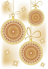 Christmas background with gold patterned christmas balls