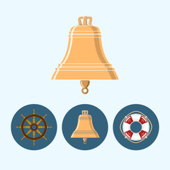 Set icons with   colored bell, lifebuoy , ship wheel
