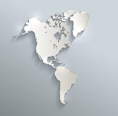 America map blue white card paper 3D raster