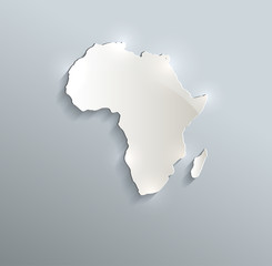 Africa map blue white card paper 3D raster