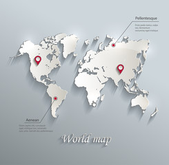 World map blue white card paper 3D vector infographics
