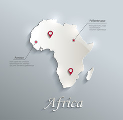 Africa map blue white card paper 3D vector infographics