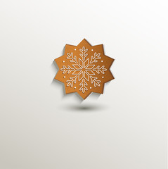 gingerbread snow flake card paper 3D natural vector