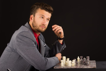nice man playing chess