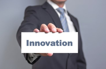 innovation sign in business hands