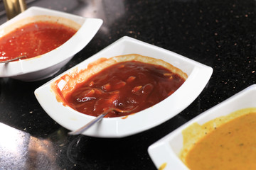 Sauces on the plates