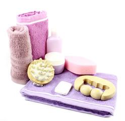 Towel, bottles and massager