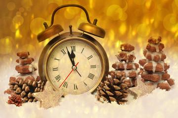 new year clock before midnight