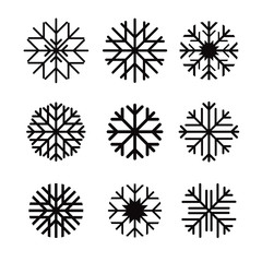 Set of black vector snowflakes